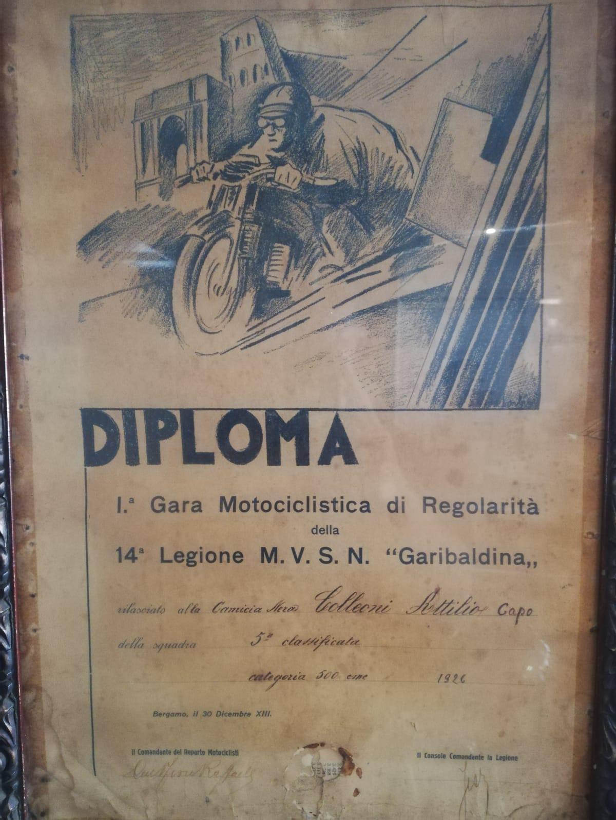 diploma di gara di regolarità disputata nel 1926 da Colleoni Attilio