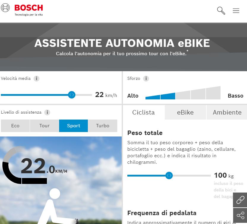 programma di calcolo per determinare la autonomia in km delle bici elettriche motorizzate Bosch