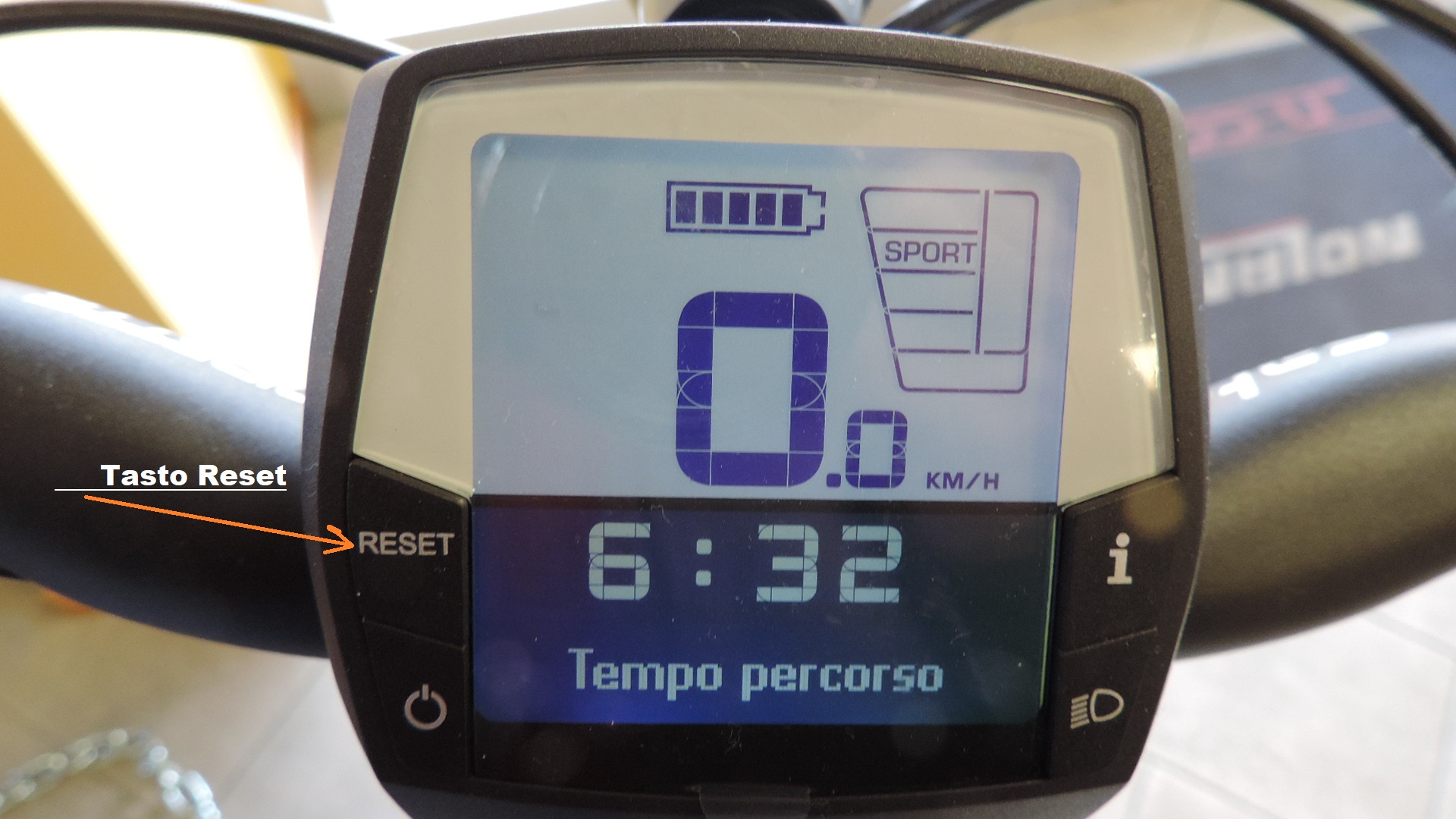 tasto di rest del ciclocomputer Intuvia
