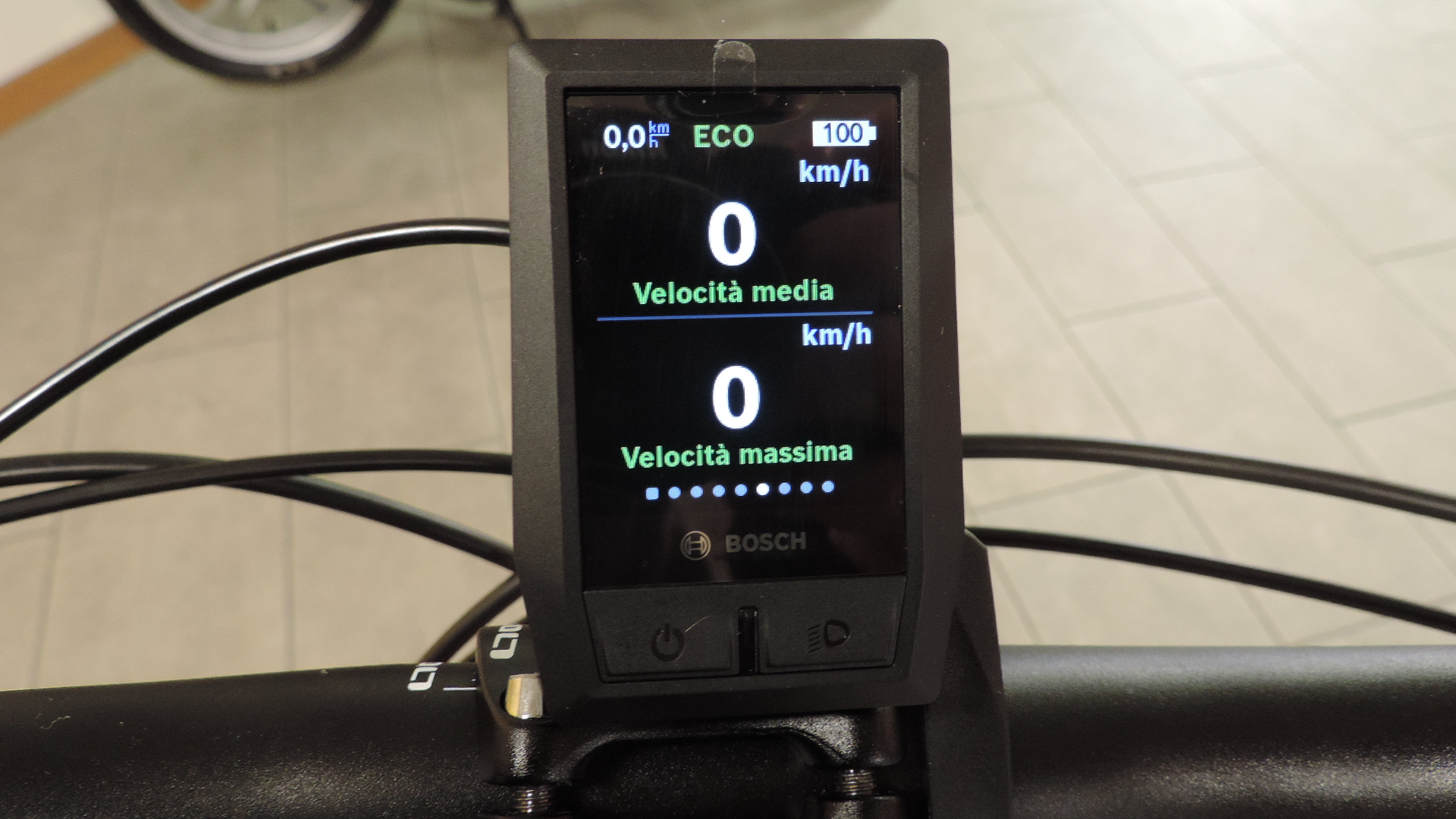 sesta schermata Kiox bosch comprende visualizza la velocità media e la massima velocità