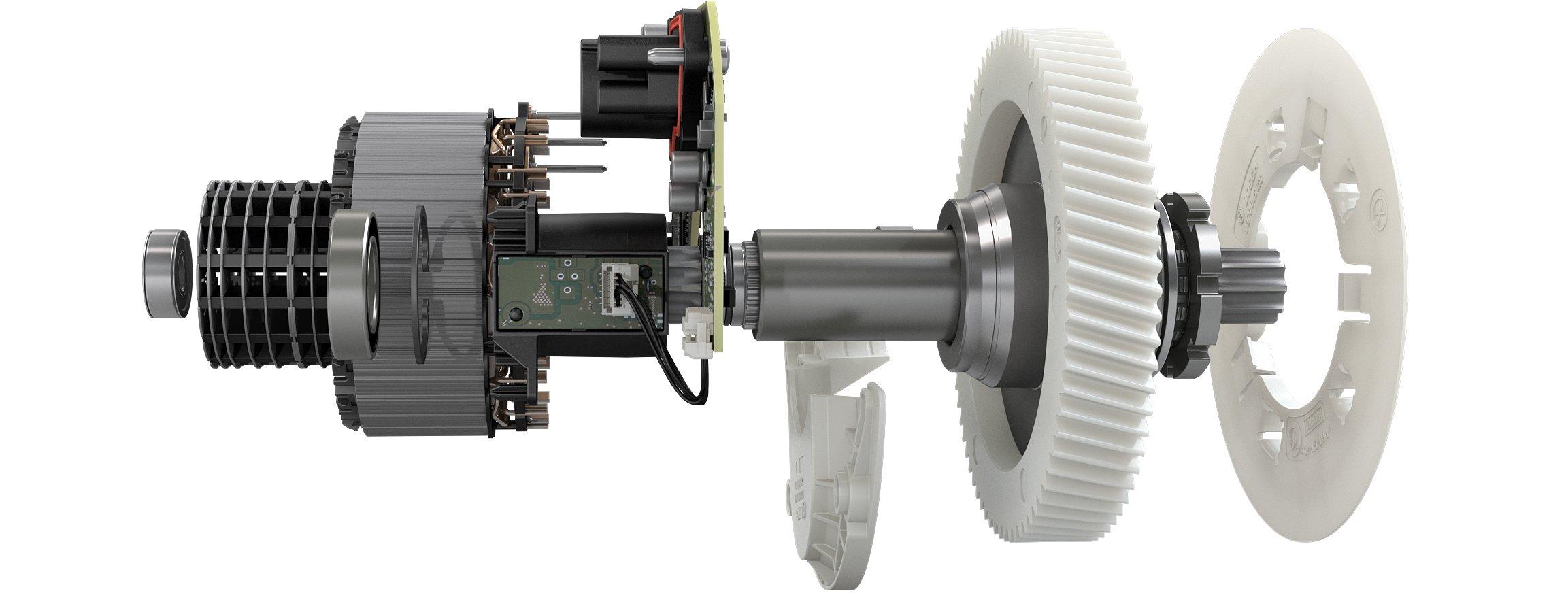 demoltiplicatore in neoprene per silenziare il rumore del motore elettrico